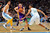 Steve Blake #5 of the Los Angeles Lakers drives to the basket between JaVale McGee #34 of the Denver Nuggets and Anthony Randolph #15 of the Denver Nuggets at the Pepsi Center on February 25, 2013 in Denver, Colorado. NOTE TO USER: User expressly acknowledges and agrees that, by downloading and or using this photograph, User is consenting to the terms and conditions of the Getty Images License Agreement.  (Photo by Doug Pensinger/Getty Images)