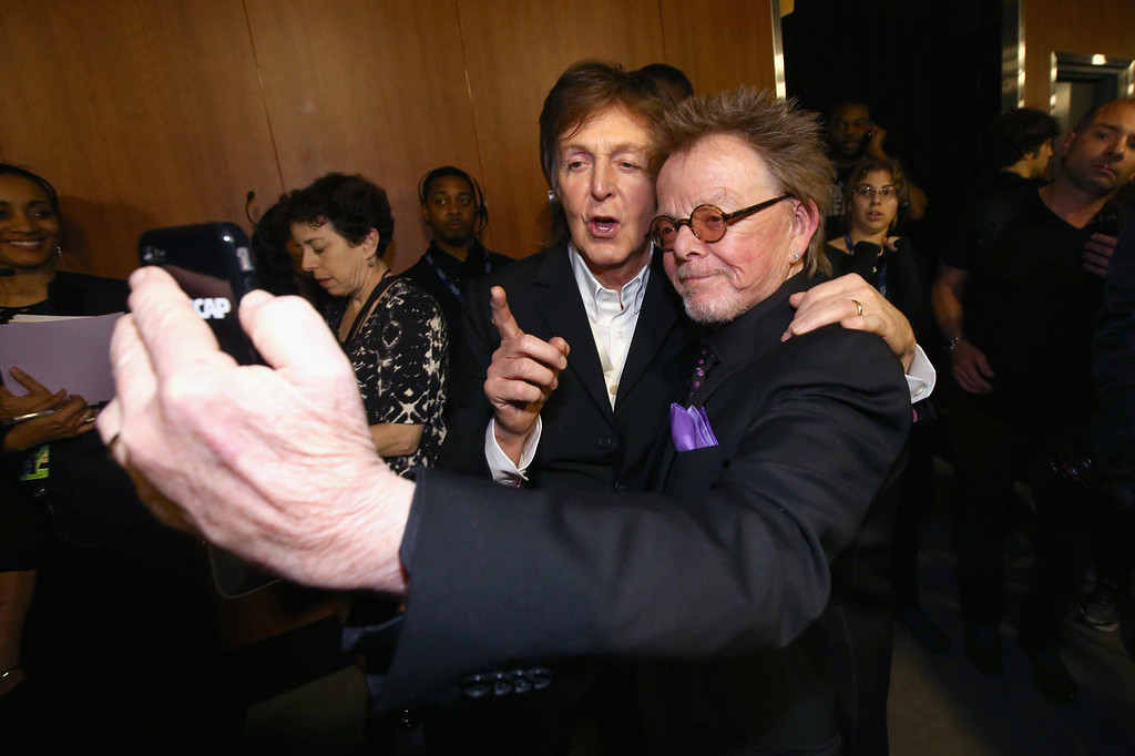 Description of . Musician Sir Paul McCartney (L) and songwriter Paul Williams attend the 56th GRAMMY Awards at Staples Center on January 26, 2014 in Los Angeles, California.  (Photo by Christopher Polk/Getty Images)