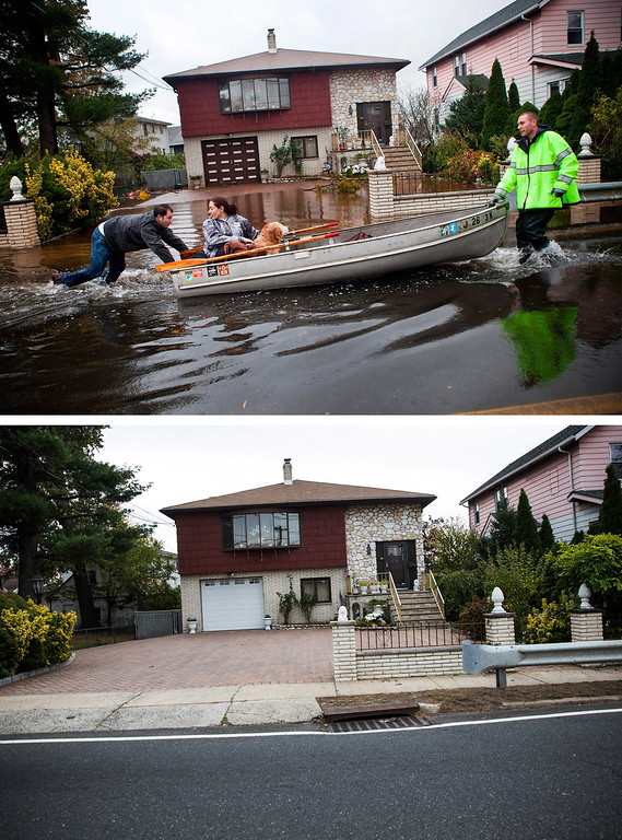 Description of . LITTLE FERRY, NJ - OCTOBER 30: (top)  An emergency responder helps evacuate two people with a boat, after their neighborhood experienced flooding due to Superstorm Sandy October 30, 2012 in Little Ferry, New Jersey.  LITTLE FERRY, NJ - OCTOBER 23: (bottom) The same home in Little Ferry, NJ is shown October 22, 2013.  (Photos by Andrew Burton/Getty Images)