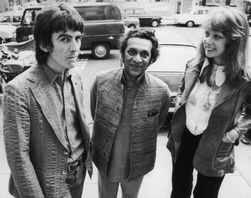 . FILE - DECEMBER 11: Sitar player Ravi Shankar has died at 92. August 1972:  Former Beatle George Harrison (1943 - 2001) with his wife, model Patti Boyd and sitar player Ravi Shankar (centre).  (Photo by Roy Jones/Evening Standard/Getty Images)