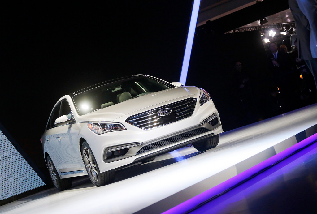 . The 2015 Hyundai Sonata is introduced at the New York International Auto Show, Wednesday, April 16, 2014, in New York. (AP Photo/Mark Lennihan)