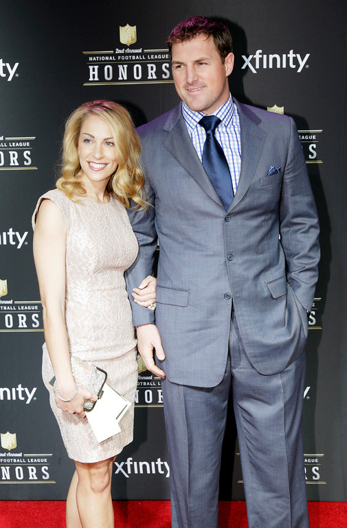 Description of . Jason Witten, right, of the Dallas Cowboys and Michelle Witten arrive at the 2nd Annual NFL Honors on Saturday, Feb. 2, 2013 in New Orleans. (Photo by AJ Mast/Invision/AP)