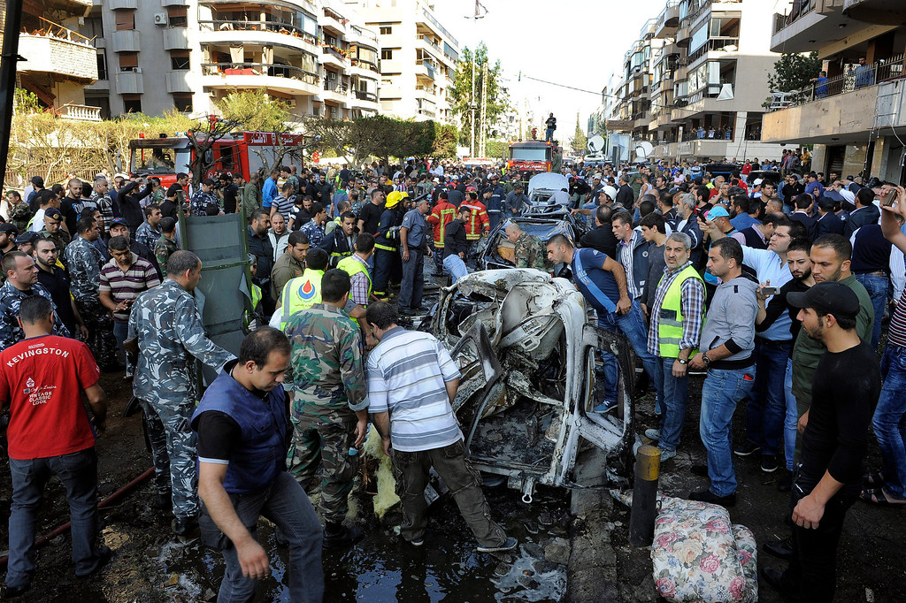 Description of . A general view of the scene after a number of explosions near the Iranian embassy in Beirut, Lebanon, early 19 November 2013. Reports vary regarding fatalities but at least 15 people are believed to have been killed in south Beirut, a stronghold of the Hezbollah militant movement  EPA/WAEL HAMZEH