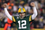 Quarterback Aaron Rodgers #12 of the Green Bay Packers celebrates after fullback John Kuhn #30 scores on a three-yard touchdown run in the second quarter against the Minnesota Vikings during the NFC Wild Card Playoff game at Lambeau Field on January 5, 2013 in Green Bay, Wisconsin.  (Photo by Andy Lyons/Getty Images)