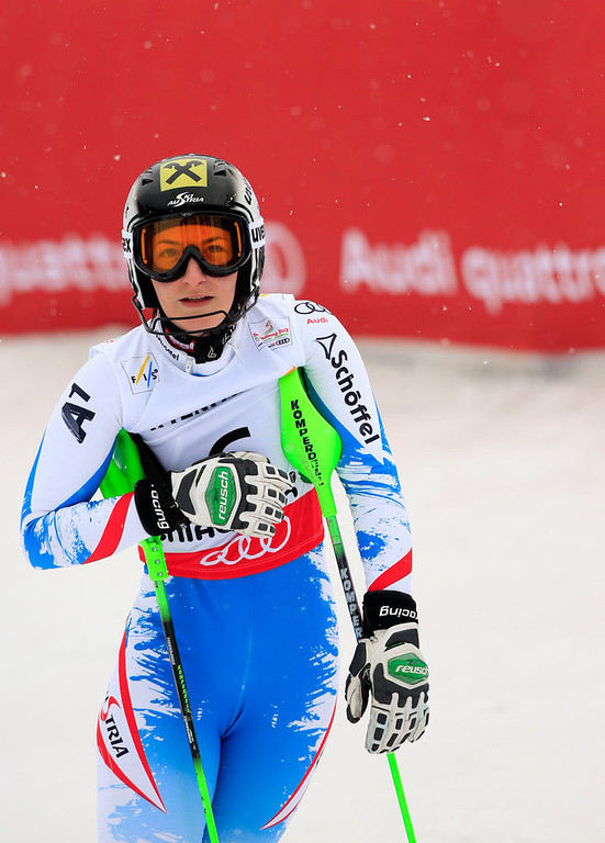 Description of . Austria's Kathrin Zettel reacts after the first run of the women's slalom at the 2013 Ski World Championships in Schladming, Austria on February 15, 2013. ALEXANDER KLEIN/AFP/Getty Images