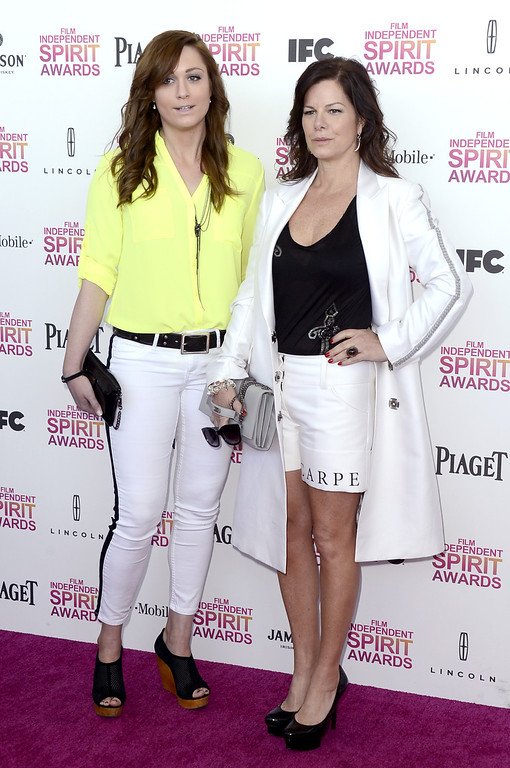 Description of . SANTA MONICA, CA - FEBRUARY 23:  Actress Marcia Gay Harden (R) attends the 2013 Film Independent Spirit Awards at Santa Monica Beach on February 23, 2013 in Santa Monica, California.  (Photo by Frazer Harrison/Getty Images)