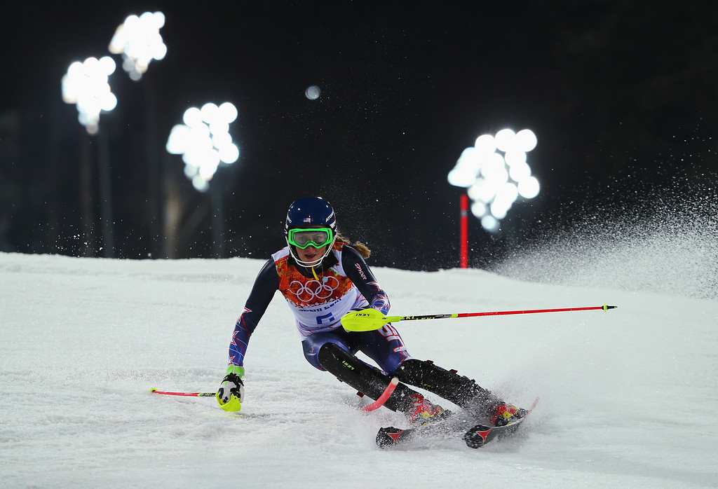 Description of . Mikaela Shiffrin of the United States in action during the Women's Slalom during day 14 of the Sochi 2014 Winter Olympics at Rosa Khutor Alpine Center on February 21, 2014 in Sochi, Russia.  (Photo by Clive Rose/Getty Images)