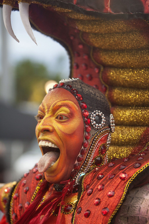 Description of . Tongue poking moment by a  colourful character of \'Grupo Especial Tom Maior\' samba school performs during celebrations of the Carnival at the sambadrome of Anhembi in Sao Paulo, Brazil, 01 March 2014.  EPA/Sebasti�o Moreira
