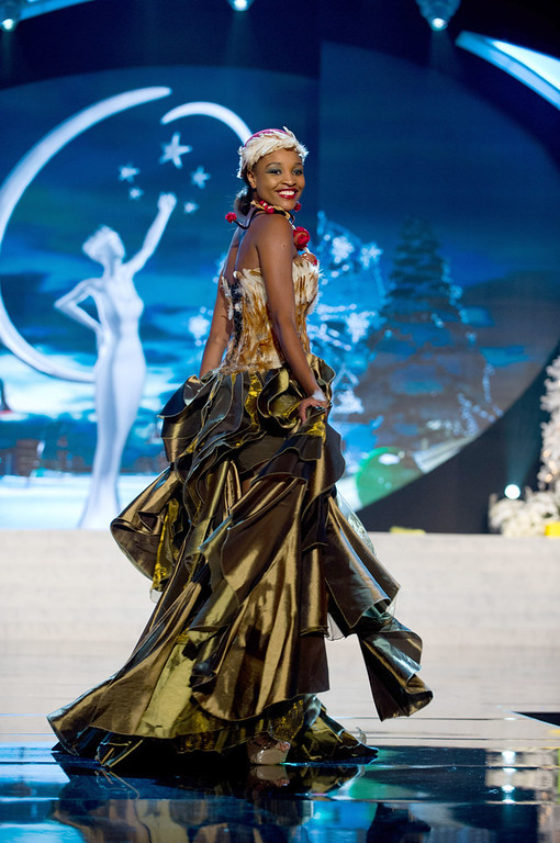 Description of . Miss Namibia 2012, Tsakana Nkandih, performs onstage at the 2012 Miss Universe National Costume Show on Friday, Dec. 14, 2012 at PH Live in Las Vegas, Nevada. The 89 Miss Universe Contestants will compete for the Diamond Nexus Crown on Dec. 19, 2012. (AP Photo/Miss Universe Organization L.P., LLLP)