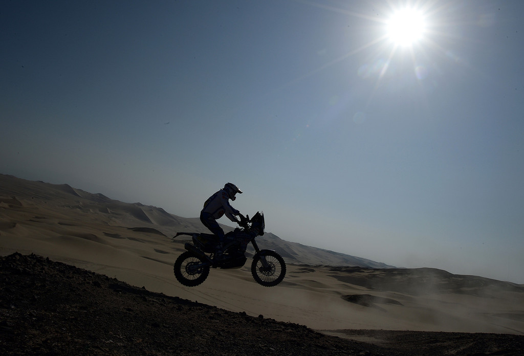 Description of . Yamaha's rider Frans Verhoeven jumps during Stage 3 of the Dakar Rally 2013 between Pisco and Nazca, Peru, on January 7, 2013. The rally will take place in Peru, Argentina and Chile from January 5-20.   FRANCK FIFE/AFP/Getty Images