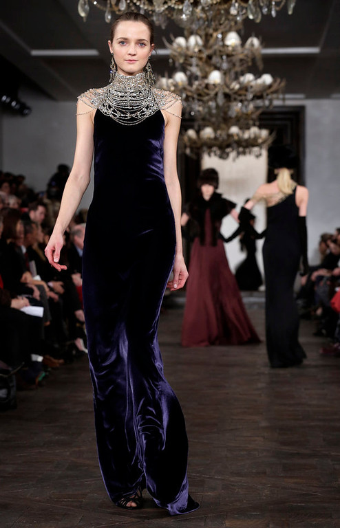 . The Ralph Lauren Fall 2013 collection is modeled during Fashion Week in New York,  Thursday, Feb. 14, 2013. (AP Photo/Richard Drew)