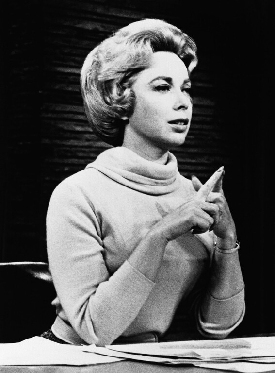 Description of . Psychologist Dr.Joyce Brothers shown in the studio of her direct line radio show, saved a would-be suicide in 1968. (AP Photo)