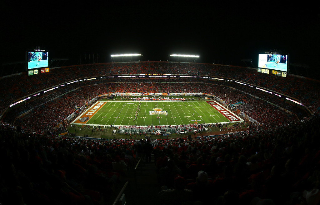 Description of . MIAMI GARDENS, FL - JANUARY 03: A general view of the Discover Orange Bowl between the Clemson Tigers and the Ohio State Buckeyes at Sun Life Stadium on January 3, 2014 in Miami Gardens, Florida.  (Photo by Mike Ehrmann/Getty Images)