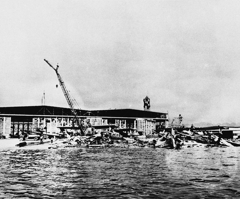 Description of . In this photo released by the U.S. Navy, some of the patrol planes of the Catalina type that were wrecked on Ford Island at Pearl Harbor, Hawaii, during the Japanese aerial attack of Dec. 7, 1941. (AP Photo/U.S. Navy)