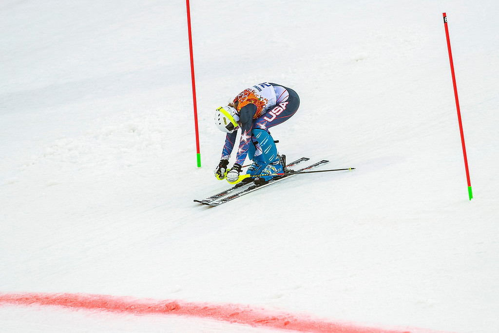 Description of . Resi Stiegler competes in run 1 of the women's slalom competition at Rosa Khutor Alpine Center during the 2014 Sochi Olympics Friday February 21, 2014. Stiegler is currently in 20th place with a time of 56.81. (Photo by Chris Detrick/The Salt Lake Tribune)