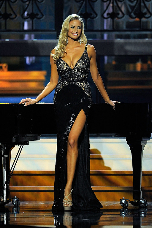 Description of . Miss California USA Cassandra Kunze competes in the 2014 Miss USA Competition at The Baton Rouge River Center on June 8, 2014 in Baton Rouge, Louisiana.  (Photo by Stacy Revere/Getty Images)