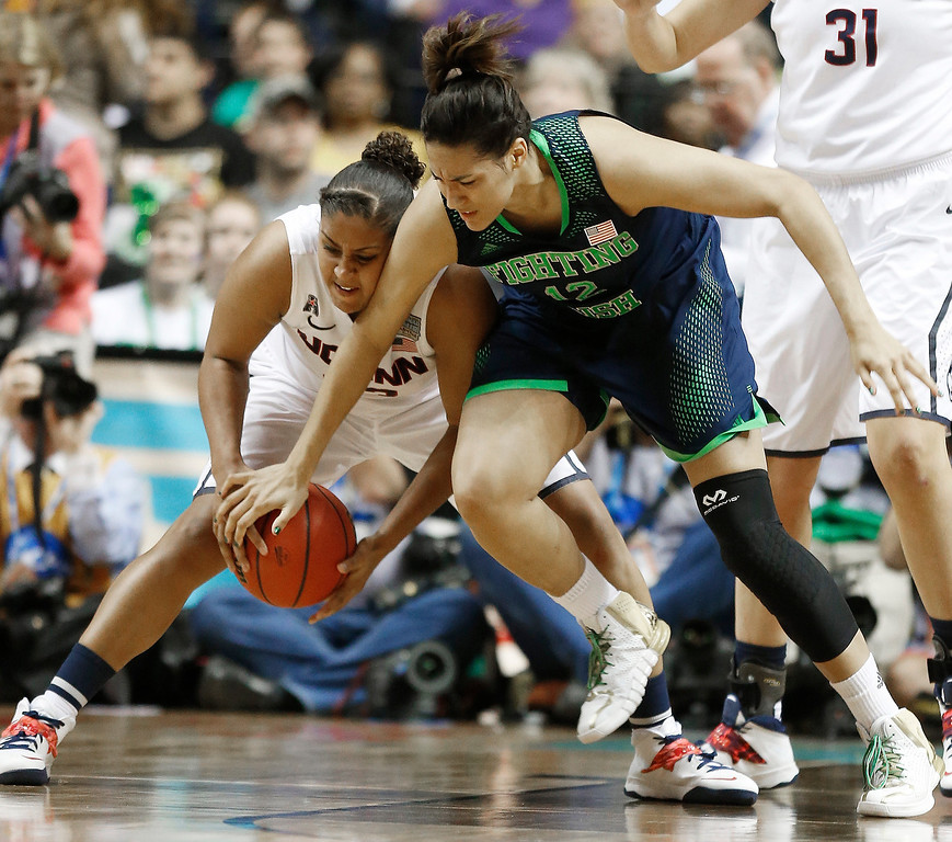 Description of . Connecticut forward Kaleena Mosqueda-Lewis (23) works against Notre Dame forward Taya Reimer (12) during the second half of the championship game in the Final Four of the NCAA women's college basketball tournament, Tuesday, April 8, 2014, in Nashville, Tenn. (AP Photo/John Bazemore)