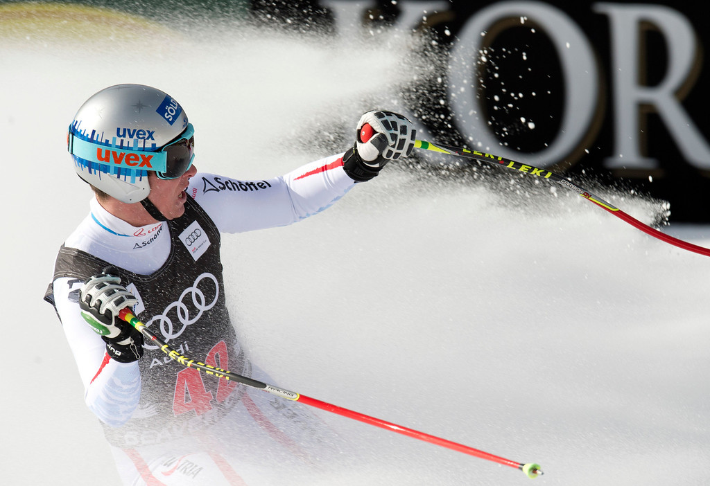 Description of . Florian Scheiber of Asutria reacts as he skis to the finish to take fourth in the FIS Alpine World Cup Men's Downhill on November 30, 2012 in Beaver Creek, Colorado.     DON EMMERT/AFP/Getty Images