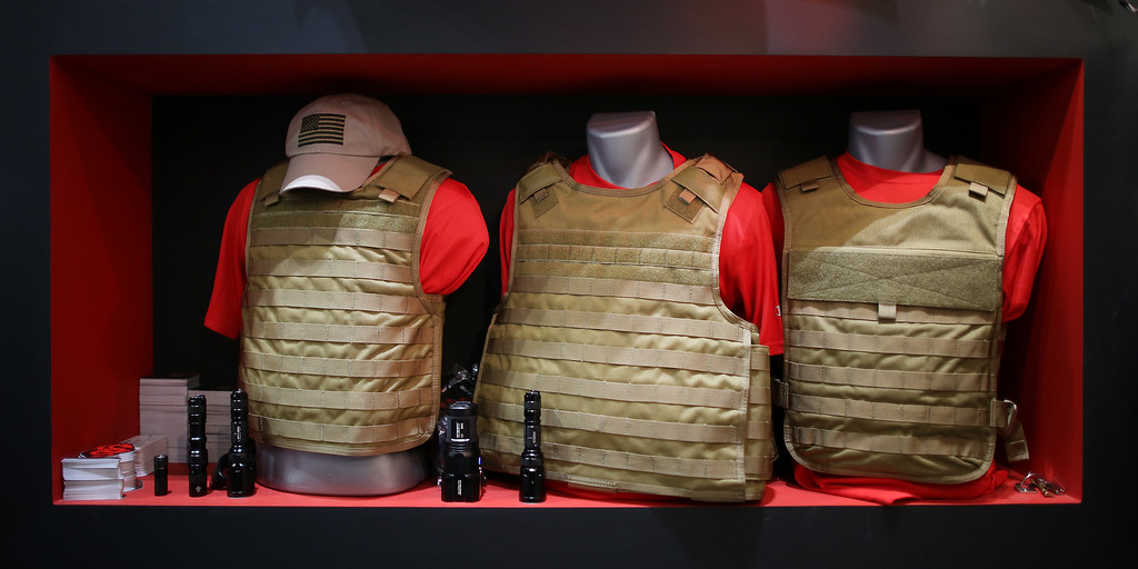 Description of . Body armor is displayed at the Defense and Security Exhibition on September 10, 2013 in London, England.  (Photo by Peter Macdiarmid/Getty Images)