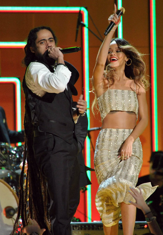 Description of . Damian Marley, left, and Rihanna perform at the 55th annual Grammy Awards on Sunday, Feb. 10, 2013, in Los Angeles. (Photo by John Shearer/Invision/AP)