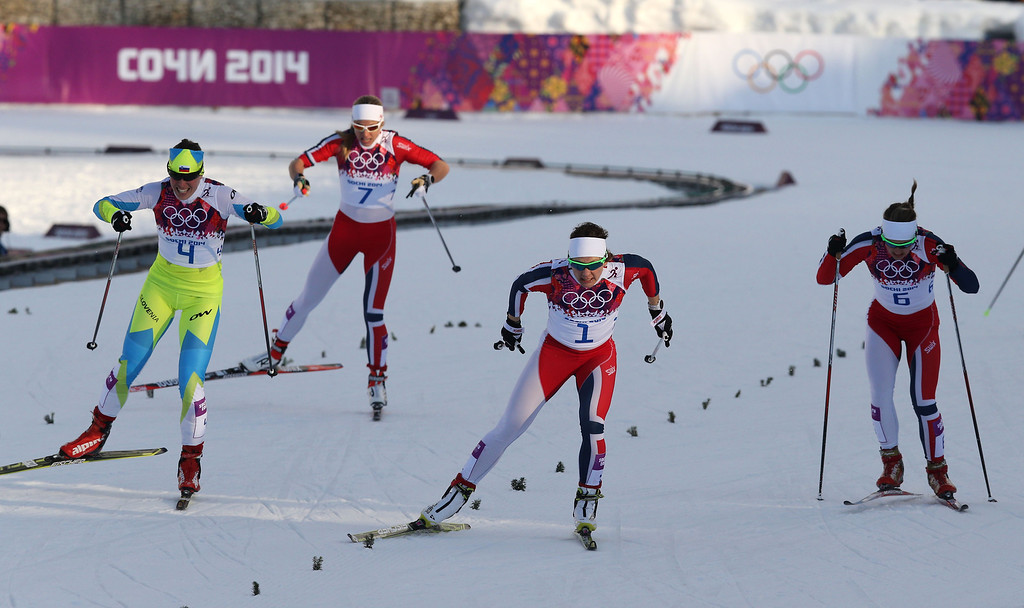 Description of . Maiken Caspersen Falla of Norway wins the gold medal during the Cross-Country Men's & Women's Sprint at the Laura Cross-country Ski & Biathlon Center on February 11, 2014 in Sochi, Russia. (Photo by Christophe Pallot/Agence Zoom/Getty Images)
