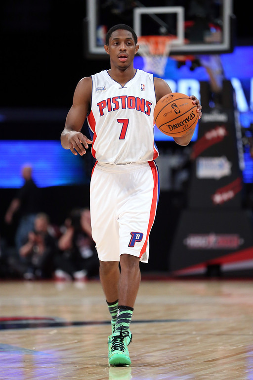 Description of . HOUSTON, TX - FEBRUARY 15:  Brandon Knight #7 of the Detroit Pistons and Team Chuck moves the ball in the BBVA Rising Stars Challenge 2013 part of the 2013 NBA All-Star Weekend at the Toyota Center on February 15, 2013 in Houston, Texas.  (Photo by Ronald Martinez/Getty Images)
