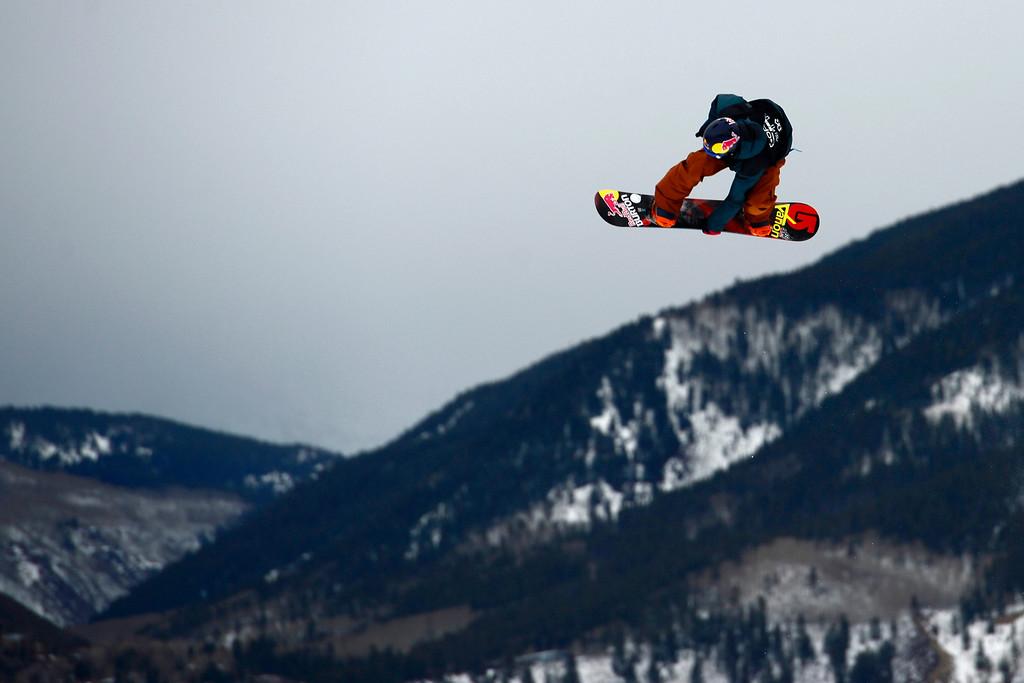 Description of . ASPEN, CO. - JANUARY 24: Seppe Smits goes big during the men's Snowboard Slopestyle elimination. Men's Snowboard Slopestyle elimination X Games Aspen Buttermilk Mountain Aspen January 24, 2013. (Photo By AAron Ontiveroz / The Denver Post)