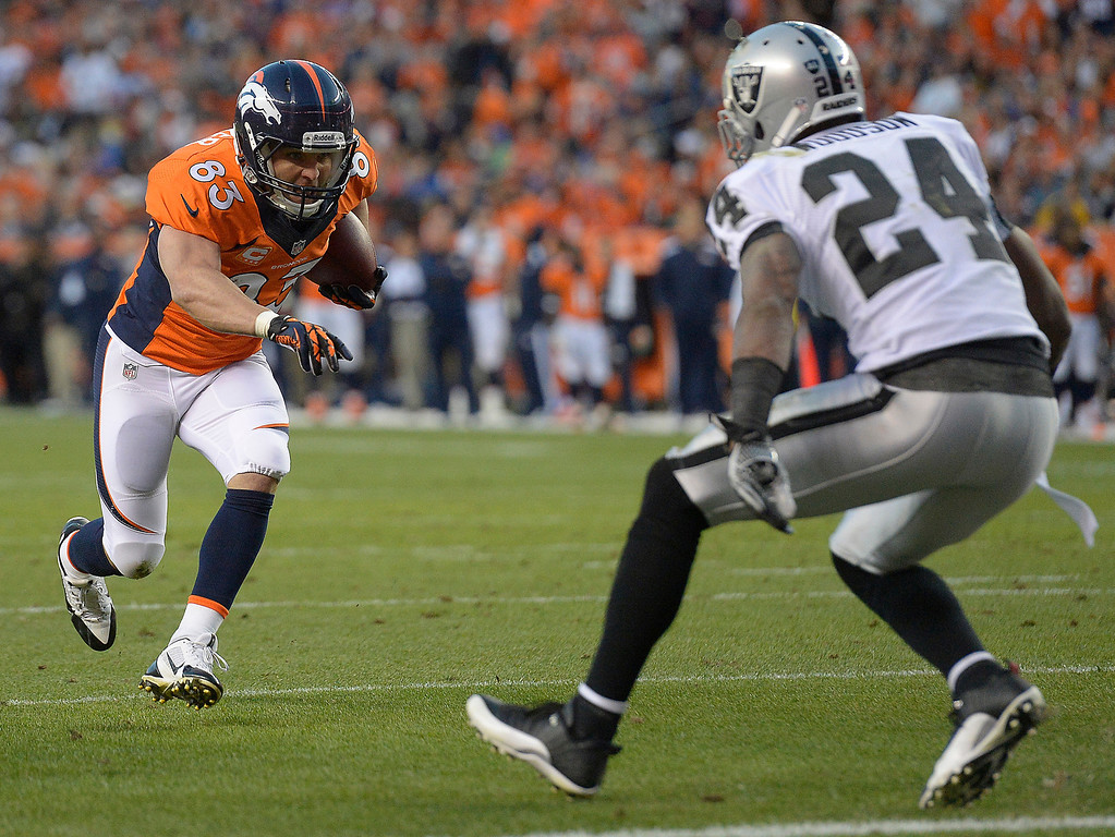 Description of . Denver Broncos wide receiver Wes Welker (83) makes a run in the first quarter. The Denver Broncos took on the Oakland Raiders at Sports Authority Field at Mile High in Denver on September 23, 2013. (Photo by John Leyba/The Denver Post)