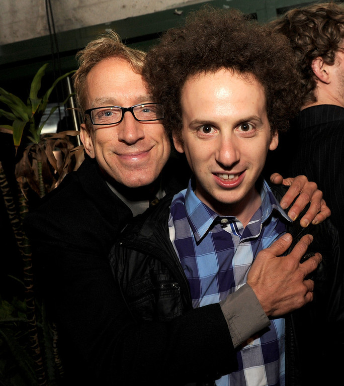 "Description of . Actors Andy Dick (L) and Josh Sussman pose at the after party for the premiere of Relativity Media\'s ""21 And Over\"" at the Westwood Brewery on February 21, 2013 in Los Angeles, California.  (Photo by Kevin Winter/Getty Images)"