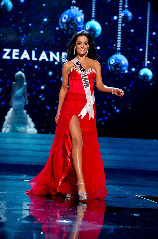 Description of . Miss New Zealand Talia Bennett competes in an evening gown of her choice during the Evening Gown Competition of the 2012 Miss Universe Presentation Show in Las Vegas, Nevada December 13, 2012. The 89 Miss Universe Contestants will compete for the Diamond Nexus Crown on December 19, 2012. REUTERS/ Darren Decker/Miss Universe Organization/Handout