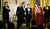 President Barack Obama is applauded by the 2012 Kennedy Center Honors recipients, from left, rock band Led Zeppelin singer Robert Plant, guitarist Jimmy Page, and keyboardist/bassist John Paul Jones, ballerina Natalia Makarova and comedian and television host David Letterman, at the conclusion of a reception hosted by President Barack Obama and first lady Michelle Obama for the honorees in the East Room of the White House in Washington, Sunday, Dec. 2, 2012.  While Led Zeppelin is being honored as a band, surviving members John Paul Jones, Jimmy Page, and Robert Plant, each received the Kennedy Center Honors. (AP Photo/Manuel Balce Ceneta)