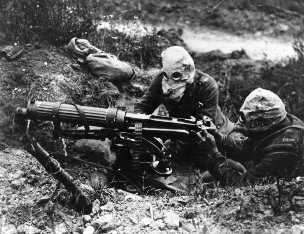 Description of . Today marks the centenary of the outbreak of World War I, when Austria-Hungary declared war on Serbia, beginning a conflict that would claim over 16 million lives. Gas-masked men of the British Machine Gun Corps with a Vickers machine gun during the first battle of the Somme.   (Photo by General Photographic Agency/Getty Images)