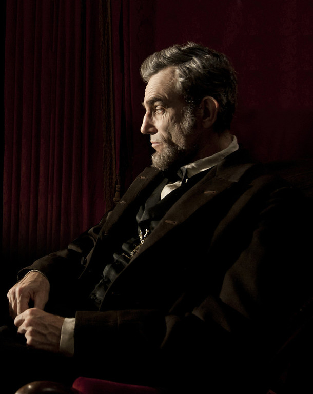 Description of . This publicity film image released by DreamWorks and Twentieth Century Fox shows Daniel Day-Lewis portraying Abraham Lincoln in the film