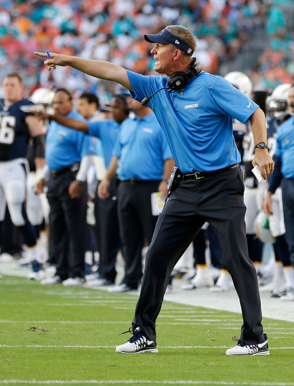Description of . San Diego Chargers head coach Mike McCoy gestures during the first half of an NFL football game against the Miami Dolphins, Sunday, Nov. 17, 2013, in Miami Gardens, Fla. (AP Photo/Lynne Sladky)