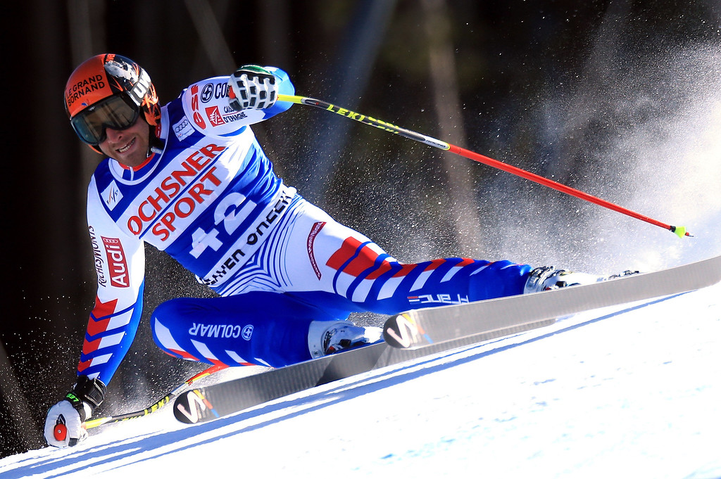 Description of . Thomas Mermillod Blondin of France skis to ninth place in the men's Super G on the Birds of Prey at the Audi FIS World Cup on December 1, 2012 in Beaver Creek, Colorado.  (Photo by Doug Pensinger/Getty Images)