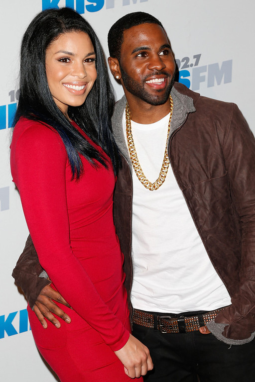 Description of . Singers Jordin Sparks (L) and Jason Derulo attend KIIS FM\'s 2012 Jingle Ball at Nokia Theatre L.A. Live on December 3, 2012 in Los Angeles, California.  (Photo by Imeh Akpanudosen/Getty Images)