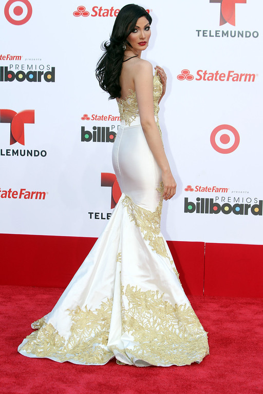 Description of . Puerto Rican actress Cynthia Olavarria arrives at the Latin Billboard Awards in Coral Gables, Fla. Thursday, April 25, 2013. (Photo by Carlo Allegri/Invision/AP)