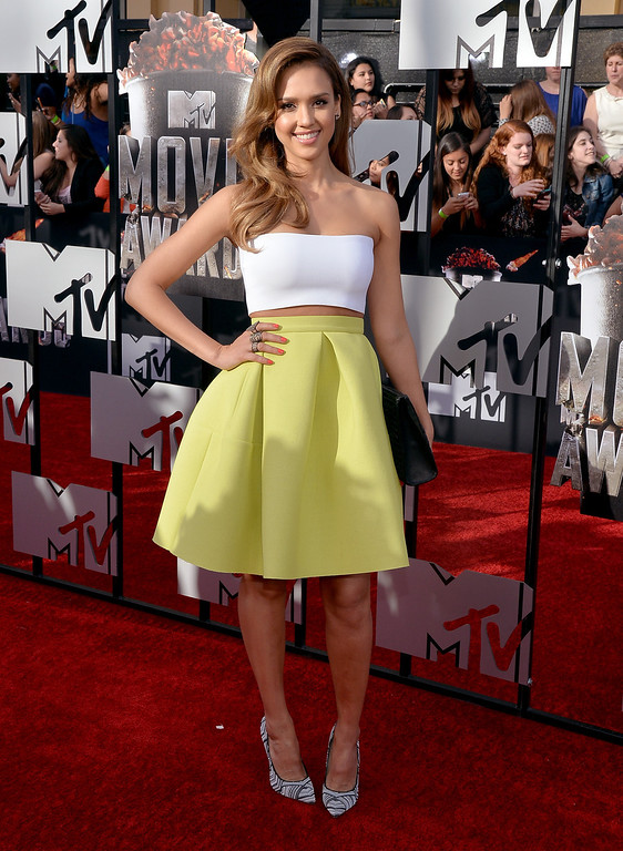 Description of . Actress Jessica Alba attends the 2014 MTV Movie Awards at Nokia Theatre L.A. Live on April 13, 2014 in Los Angeles, California.  (Photo by Michael Buckner/Getty Images)