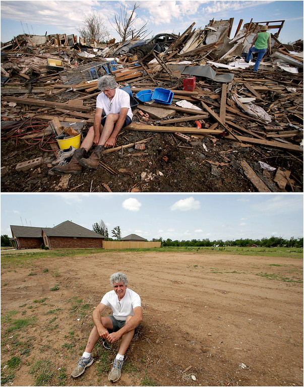 Description of . In this photo combination, Rick Brown puts on a pair of boots after finding them in his tornado-ravaged home in Moore, Okla., on May 22, 2013, top, and sits on the now-cleared lot on May 8, 2014, bottom. Brown said construction should start soon on a new home to replace the one destroyed by the massive tornado that tore a wide swath through the Oklahoma City suburb on May 20, 2013. (AP Photo/Charlie Riedel)