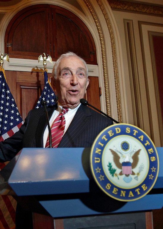 Description of . In this Nov. 2, 2011, file photo, Sen. Frank Lautenberg, D-N.J., speaks during a news conference on Capitol Hill in Washington. Lautenberg, a multimillionaire New Jersey businessman and liberal who was called out of retirement for a second tour of duty in Congress, died Monday, June 3, 2013, at age 89. (AP Photo/J. Scott Applewhite, File)
