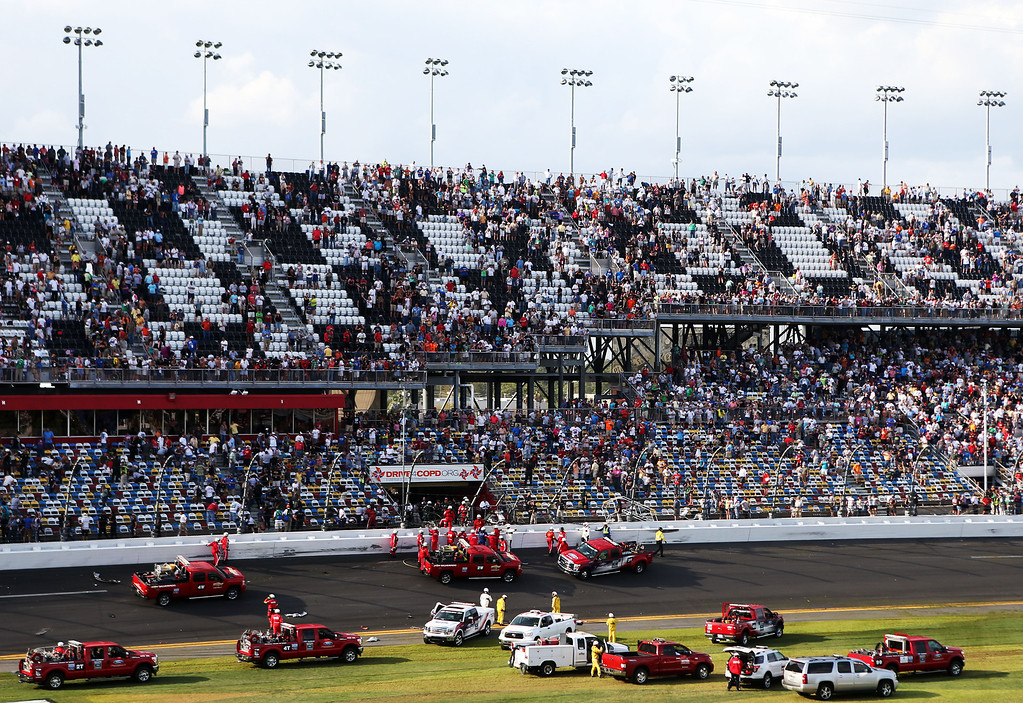 Description of . DAYTONA BEACH, FL - FEBRUARY 23: A general view of the scene following an incident at the finish of the NASCAR Nationwide Series DRIVE4COPD 300 at Daytona International Speedway on February 23, 2013 in Daytona Beach, Florida.  (Photo by Matthew Stockman/Getty Images)