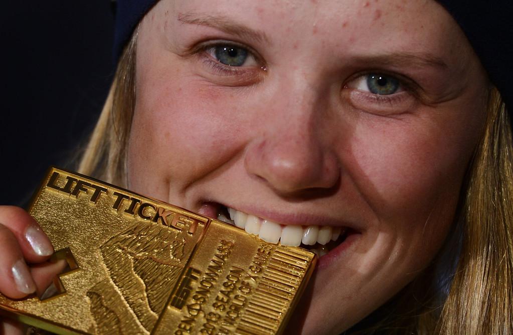 Description of . ASPEN, CO. - JANUARY 27: Tiril Sjastad Christiansen won gold in the Ski Slopestyle Women's Final, January 27, 2013. The 2013 Winter X Games at Buttermilk Mountain in Aspen. (Photo By RJ Sangosti / The Denver Post)