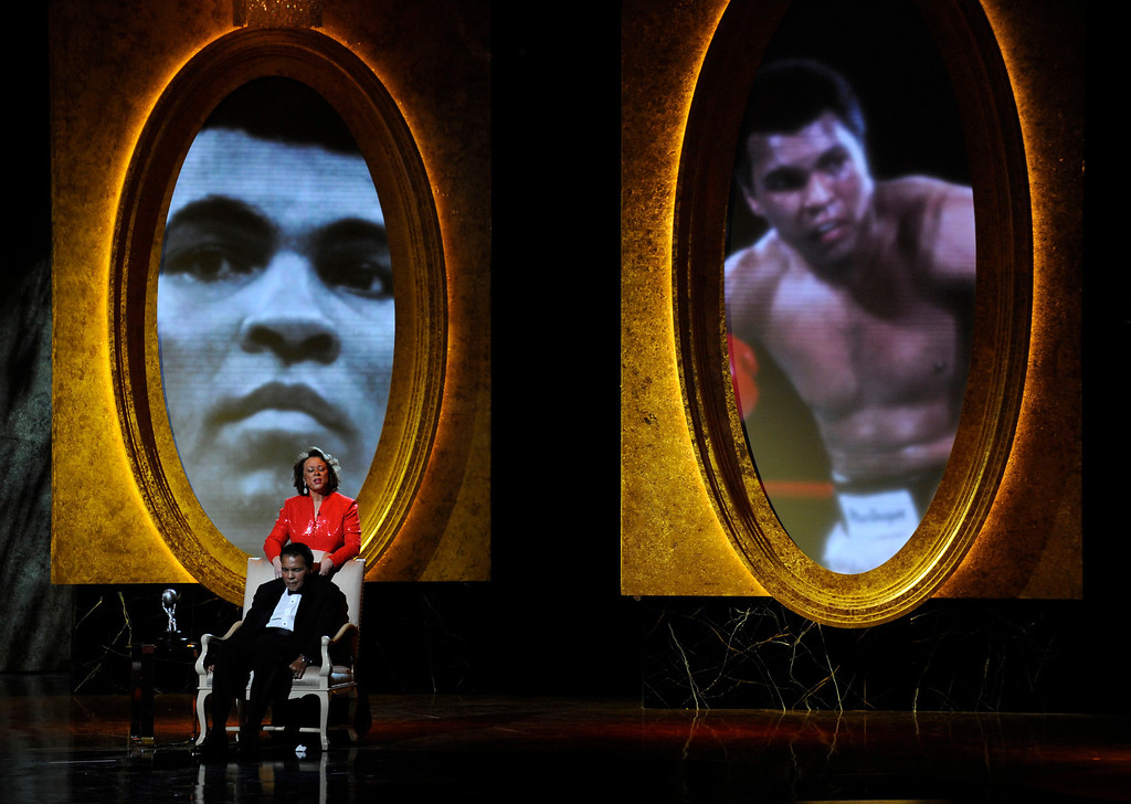 Description of . Muhammad Ali and wife Lonnie are seen on stage at the 40th NAACP Image Awards on Thursday, Feb. 12, 2009,in Los Angeles. Muhammad Ali was presented with the President\'s Award. (AP Photo/Chris Pizzello)