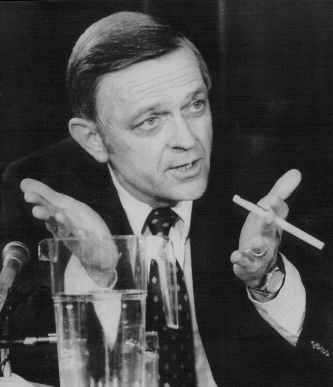 Description of . Jesse Moore, director of the Johnson Space Center and associate administrator for space flight at the time of the ill-fated launch of the Challenger testifies at the State Department in Washington before the presidential commission investigating the space shuttle Challenger explosion.   Credit: AP Laserphoto