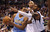 Andre Iguodala #9 of the Denver Nuggets dribbles the ball against O.J. Mayo #32 of the Dallas Mavericks at American Airlines Center on December 28, 2012 in Dallas, Texas.     (Photo by Ronald Martinez/Getty Images)