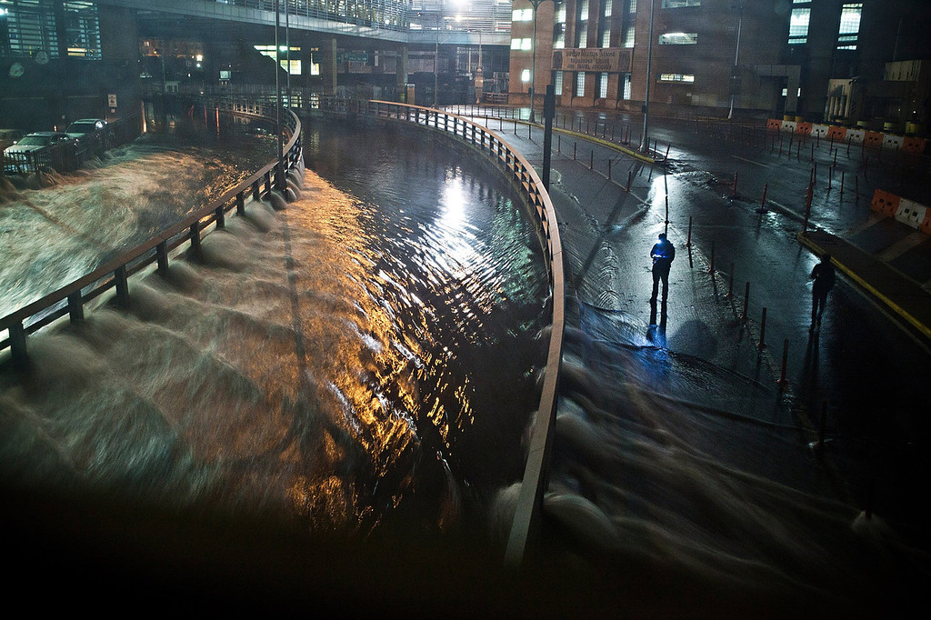. Water rushes into the Carey Tunnel (previously the Brooklyn Battery Tunnel), caused by Hurricane Sandy, October 29, 2012, in the Financial District of New York, United States. Hurricane Sandy, which threatens 50 million people in the eastern third of the U.S., is expected to bring days of rain, high winds and possibly heavy snow. New York Governor Andrew Cuomo announced the closure of all New York City will bus, subway and commuter rail service as of Sunday evening.  (Photo by Andrew Burton/Getty Images)