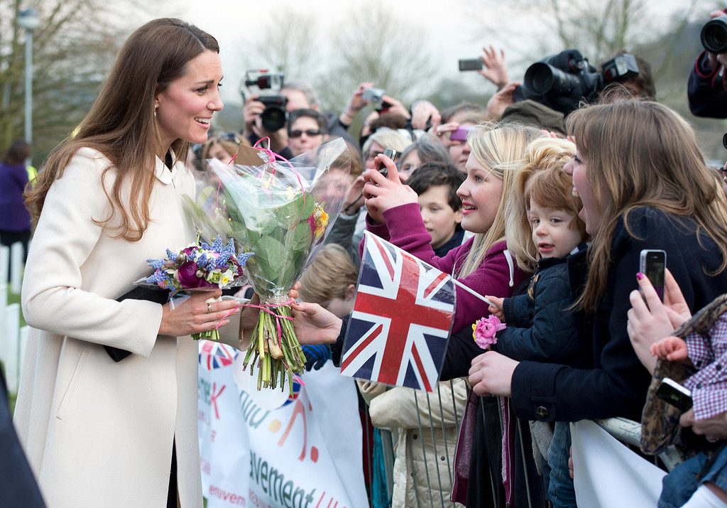Description of . Catherine, Duchess of Cambridge meets members of the public as she visits the offices of Child Bereavement UK on March 19, 2013 in Saunderton, Buckinghamshire.  (Photo by Paul Edwards - WPA Pool/Getty Images)