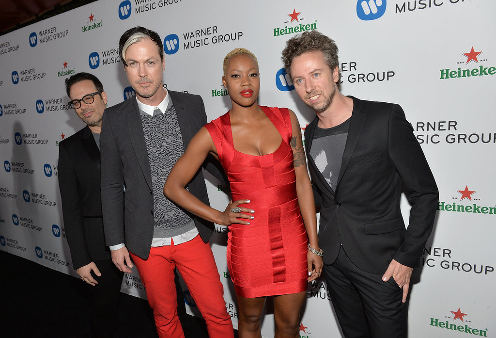Description of . (L-R) Jeremy Ruzumna, Michael Fitzpatrick, Noelle Scaggs, and Joseph Karnes of Fitz and the Tantrums attend the Warner Music Group annual GRAMMY celebration on January 26, 2014 in Los Angeles, California.  (Photo by Michael Buckner/Getty Images for Warner Bros.)