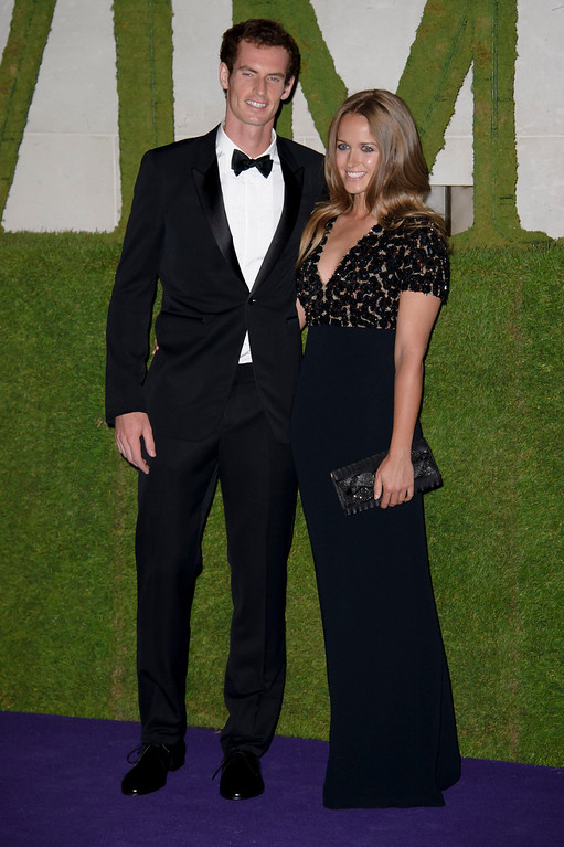 Description of . British tennis player and winner of Wimbledon 2013 Andy Murray and his partner Kim Sears arrive for the Wimbledon Champions Dinner 2013, in London, Sunday, July 7, 2013. (Photo by Jonathan Short/Invision/AP)