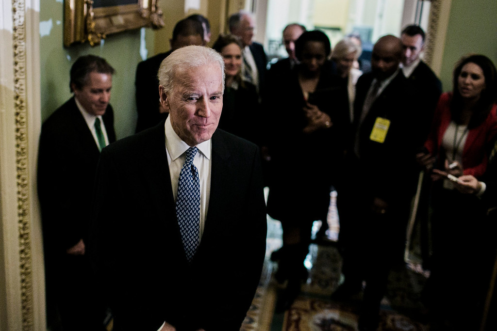 Description of . Vice President Joe Biden after a closed-door meeting with Senate Democrats, in Washington, Dec. 31, 2012. Democratic leaders signed off on the agreement on Monday, but the measure was not going to pass in time for Congress to meet its Dec. 31 deadline to avert automatic tax increases and spending cuts. (T.J. Kirkpatrick/The New York Times)